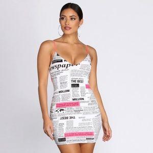 Windsor All In Knit Together Newspaper Mini Dress